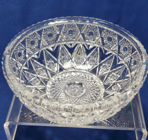 ABP cut glass bowl American brilliant flat rim Auction
