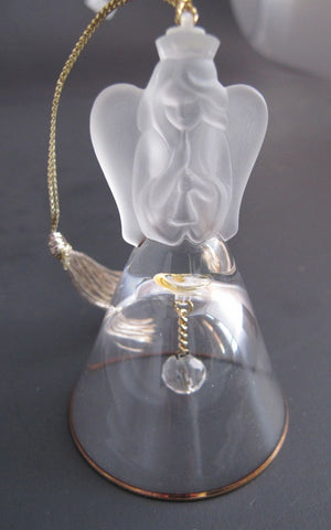 Lenox Crystal 1988 Angel Tree miniature bell ornament Made in USA - O'Rourke crystal awards & gifts abp cut glass