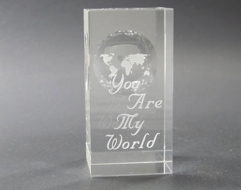 Globe pattern paperweight, You are my World, Great Valentine gift - O'Rourke crystal awards & gifts abp cut glass