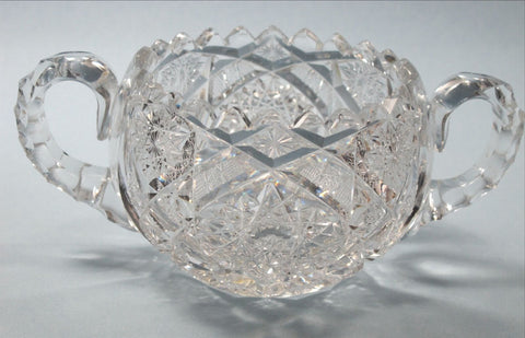 American Brilliant Period Cut Glass 2 handle large sugar Antique  abp hand cut - O'Rourke crystal awards & gifts abp cut glass