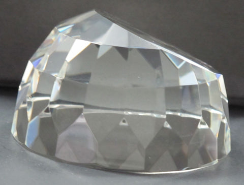 Half Globe pattern glass faceted paperweight, - O'Rourke crystal awards & gifts abp cut glass