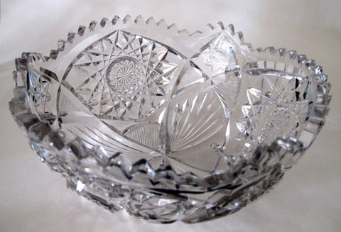 "American Brilliant Period hand Cut Glass Antique 8"" bowl ABP - O'Rourke crystal awards & gifts abp cut glass"