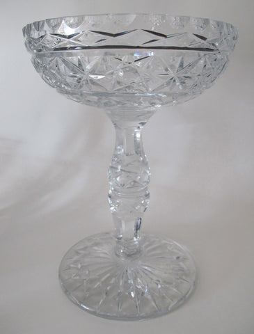 Large Hand Cut Glass compote crystal 8.5 lbs - O'Rourke crystal awards & gifts abp cut glass