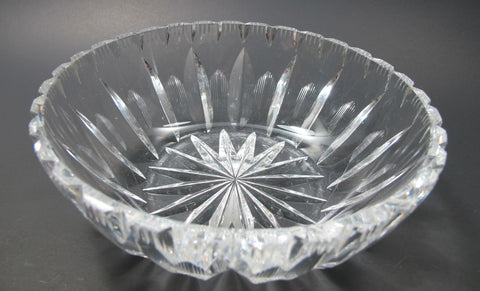 Hand Cut Glass hand  polished low bowl - O'Rourke crystal awards & gifts abp cut glass