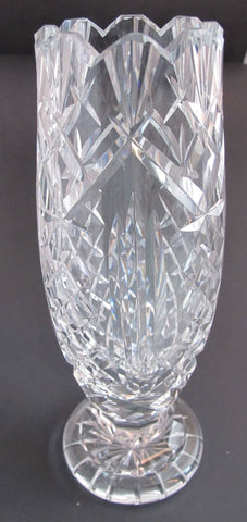 Waterford CUT GLASS  signed vase  footed old cut in Ireland - O'Rourke crystal awards & gifts abp cut glass