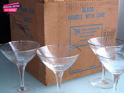 4 Tiffin Rivirea platinum Hand cut glass desserts never used, in shipping box - O'Rourke crystal awards & gifts abp cut glass