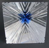 Cut Glass art pyramid optical sculpture blue tip. One of a kind signed - O'Rourke crystal awards & gifts abp cut glass