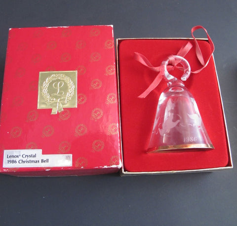Lenox Crystal 1986 doves Tree miniature bell ornament Made in USA - O'Rourke crystal awards & gifts abp cut glass
