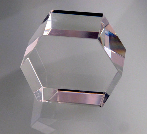 6 sided glass paperweight can be customizes, - O'Rourke crystal awards & gifts abp cut glass