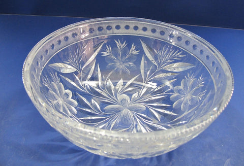 American Brilliant Period Cut Glass bowl  ABP  Antique Floral WHEEL CUT - O'Rourke crystal awards & gifts abp cut glass