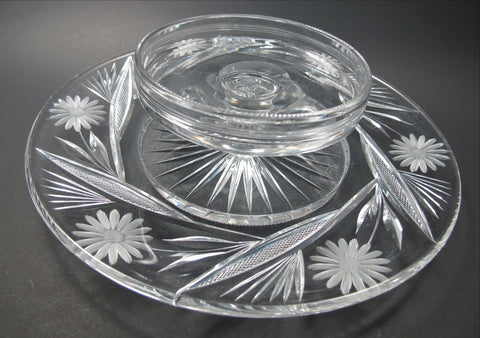 American Brilliant Period hand Cut Glass chip n dip N - O'Rourke crystal awards & gifts abp cut glass