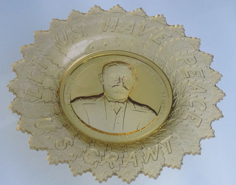 "S.Grant amber ""LET US HAVE PEACE"" GLASS PLATE - O'Rourke crystal awards & gifts abp cut glass"