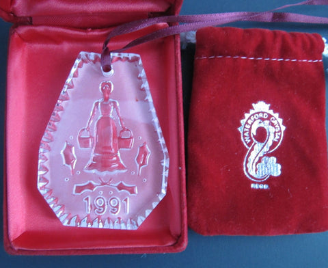 1991 #Waterford glass Christmas ornament decoration 8 maids a Milking - O'Rourke crystal awards & gifts abp cut glass