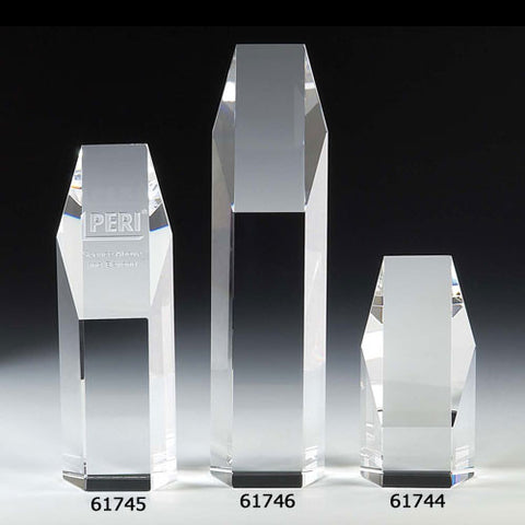 "Hexagon 10"" Optical Crystal Tower Award - O'Rourke crystal awards & gifts abp cut glass"