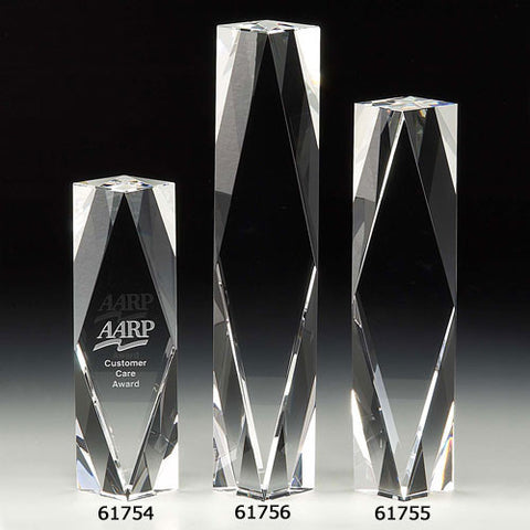 "Everest 10"" Tower Optical Glass Award - O'Rourke crystal awards & gifts abp cut glass"