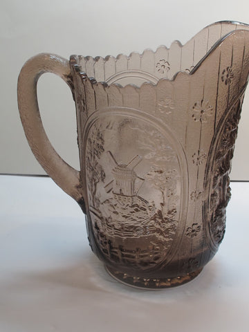 L.E Smith Glass brown windmill pitcher