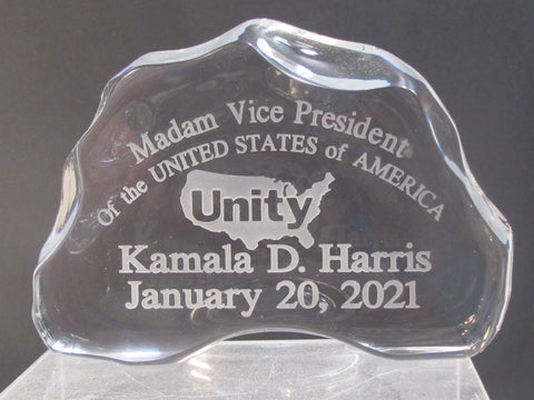 Madam Vice President Harris Unity CRYSTAL PAPERWEIGHT made in USA