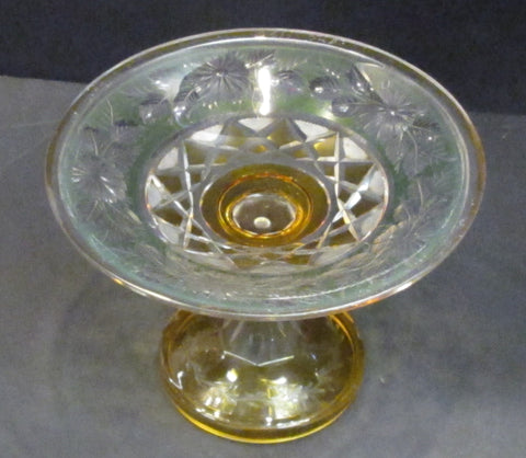 Cut Glass compote Antique green amber cut to clear