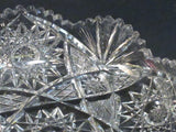 Signed Libbey American Period Cut Glass low bowl Antique crystal hobstars