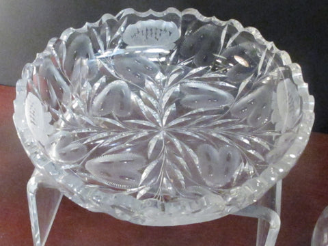 ABP cut glass low bowl ANTIQUE Johnstown PA