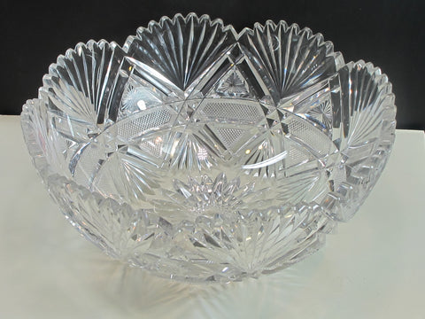 ABP cut glass bowl hand polished American brilliant for