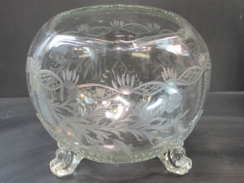 Cut glass 3 legged rose bowl sale