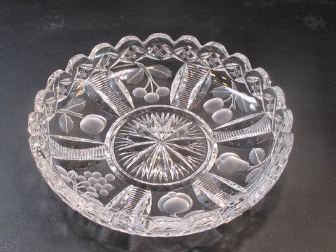 Cut glass dish FRUIT pear tomato grape crystal