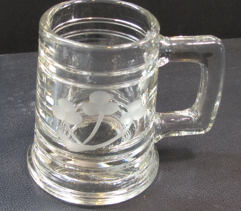 Hand Cut Shamrock shot glass mini tankard