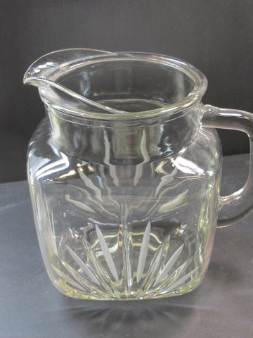 Glass pitcher 36 oz with frosted cuts