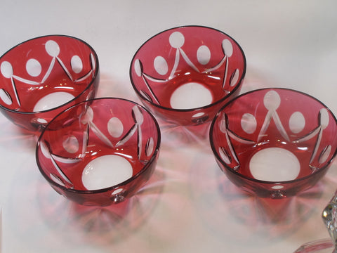 Red cased glass cut to clear finger bowl 4 piece