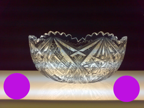 "8"" Antique Hand Cut Bowl Brilliant Period 1886 - 1915 - O'Rourke crystal awards & gifts abp cut glass"