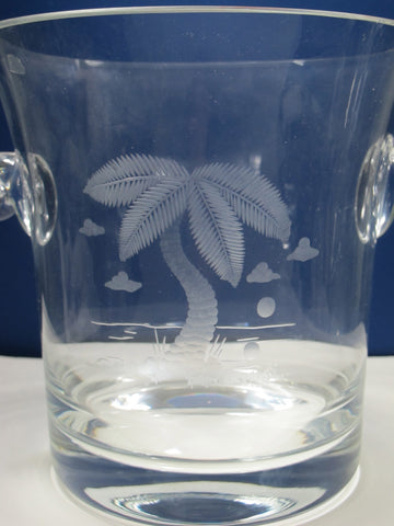 Hand Cut Palm tree champagne bucket glass crystal signed ORourke - O'Rourke crystal awards & gifts abp cut glass