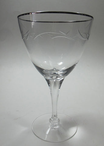 Tiffin Riviera Platinum 4 goblet stem cut glass, Crystal  Made in USA Ohio 1969 - O'Rourke crystal awards & gifts abp cut glass
