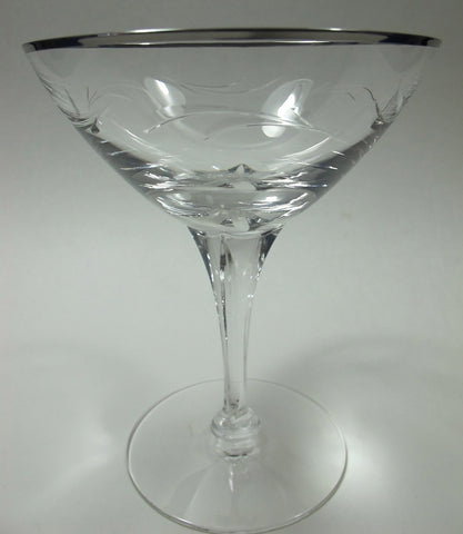 Tiffin Riviera Platinum 4 dessert stem cut glass, Crystal  Made in USA Ohio 1969 - O'Rourke crystal awards & gifts abp cut glass