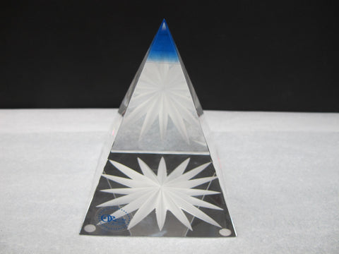 Hand Cut Sapphire Pyramid Star Award - O'Rourke crystal awards & gifts abp cut glass