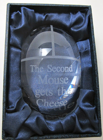 Crystal Computer Mouse Paperweight - O'Rourke crystal awards & gifts abp cut glass