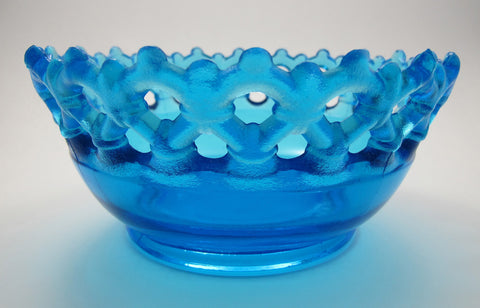 Plum glass light blue bowl - O'Rourke crystal awards & gifts abp cut glass
