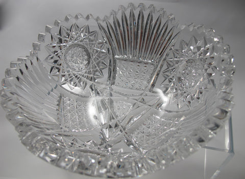 "American Brilliant Period Cut Glass  ABP  Antique 7"" bowl Made in USA - O'Rourke crystal awards & gifts abp cut glass"