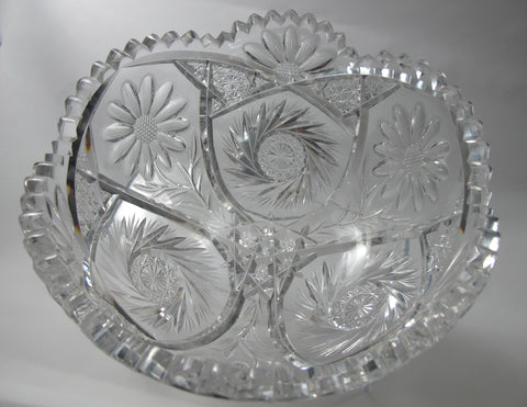 "Anderson? American Brilliant Period Cut Glass  ABP  Antique 8"" bowl Made in USA - O'Rourke crystal awards & gifts abp cut glass"