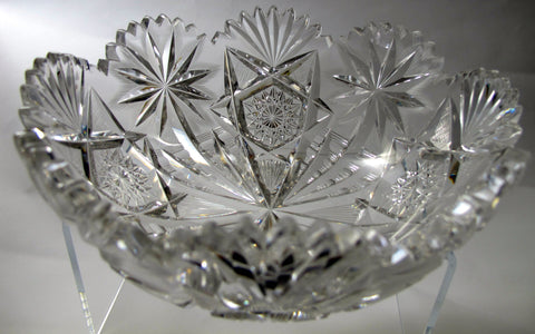 "Oasis Anderson American Brilliant Period Cut Glass  ABP  Antique 8"" bowl Made in USA - O'Rourke crystal awards & gifts abp cut glass"