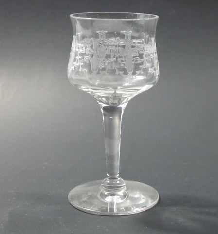 Needle etched  liquor Glass Antique hand blown - O'Rourke crystal awards & gifts abp cut glass