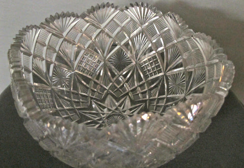 ABP cut glass square bowl American brilliant period 1886 -1915 - O'Rourke crystal awards & gifts abp cut glass