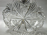 Signed Libbey new  brilliant American Period Cut Glass low bowl Antique crystal hobstar