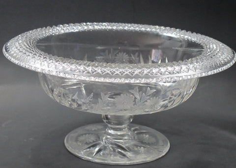 "Hand cut Wheel glass rolled out 12"" Pedestal bowl - O'Rourke crystal awards & gifts abp cut glass"
