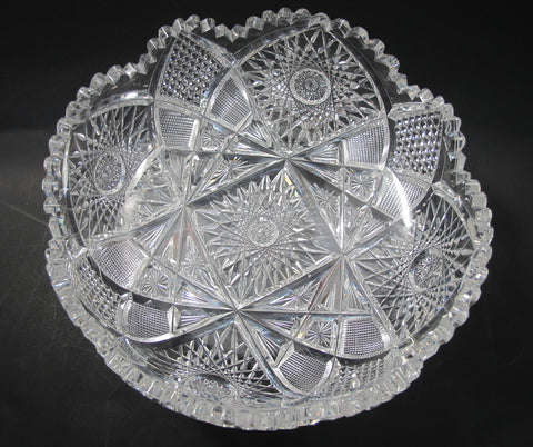 American Brilliant Period Cut Glass low bowl Antique crystal Sharp - O'Rourke crystal awards & gifts abp cut glass