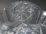 ABP cut glass square base bowl American brilliant period 1886 -1915 - O'Rourke crystal awards & gifts abp cut glass