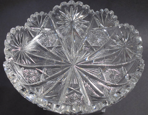 ABP cut glass low bowl Taylor Brothers Palm pattern