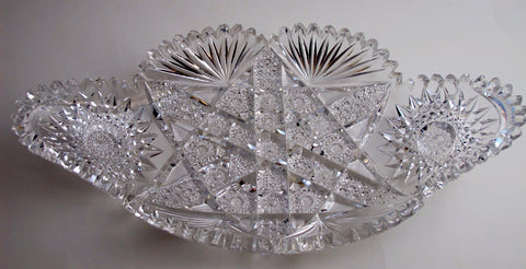 American Brilliant Period hand Cut Glass tray flashy ABP - O'Rourke crystal awards & gifts abp cut glass