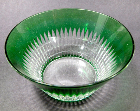 Green cased glass cut to clear finger bowl Dorflinger ? - O'Rourke crystal awards & gifts abp cut glass