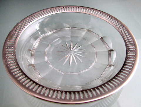 Sterling silver rim Cut Glass dish Antique - O'Rourke crystal awards & gifts abp cut glass